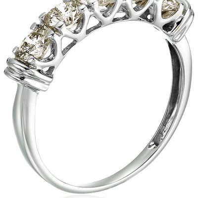5 Stone Near White 1.84Ct Real Moissanite Engagement Wedding Ring 925 Sterling Silver