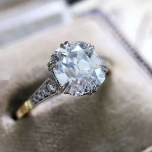 2 Ct VVS1 Cushion Moissanite Vintage Style Wedding & Engagement Ring 14k Yellow Gold