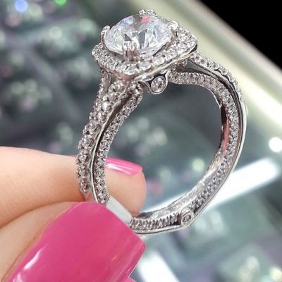 1.50Ct Forever Brilliant Moissanite Halo Bridal Engagement Ring Party 14k White Gold