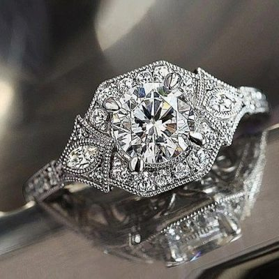 Unique Vintage 1.83 Ct Near White Moissanite Engagement Ring 925 Sterling Silver