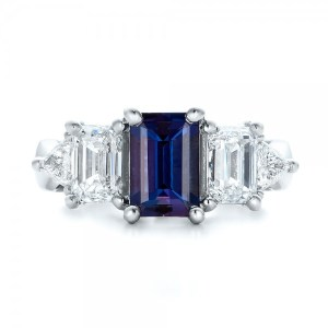 2.00Ct Blue Emerald Sapphire Diamond Engagement Ring 925 Sterling Silver