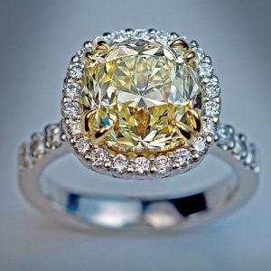 2.37 Ct Yellow Cushion Diamond Engagement Wedding Ring 14k White Gold