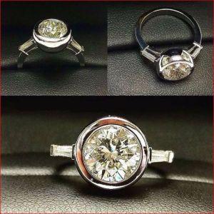 2.Carat Off White Round Cut Moissanite Bezel Engagement Ring 14k White Gold Over