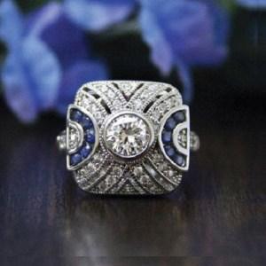 Art Deco 1.25Ct Round Cut Bezel Moissanite Vintage Engagement Ring 14k White Gold Over