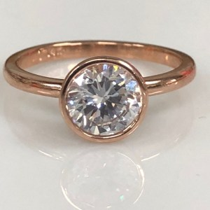 2.40Ct Bezel Set Round Cut Moissanite Fancy Engagement Ring Solid 14k Rose Gold