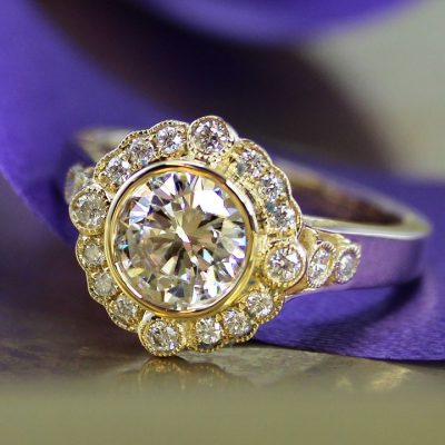 Vintage 1.89Ct Round Cut Brilliant Moissanite Luxury Engagement Ring Solid 14k Yellow Gold