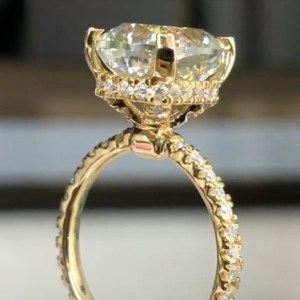 Certified 2.25Ct Brilliant Cut Real Moissanite Solitaire Engagement Ring 14k Yellow Gold