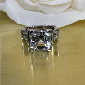 2.18Ct Asscher Cut Moissanite Fancy Eiffle Design Engagement Ring Solid 14k White Gold