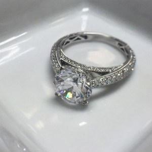 2.15Ct Brilliant Cut Moissanite Micro Pave Diamond Engagement Ring Solid 14k White Gold