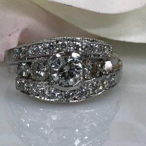 2.30Ct Bezel Round Cut 3 Stone Moissanite Bridal Set Engagement Ring 14k White Gold