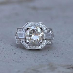 2.50Ct Excellent Cut Round Moissanite Art Deco Vintage Engagement Ring 14k White Gold