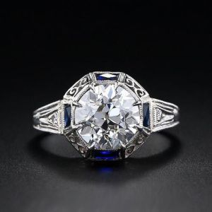 Vintage 2.00Ct Round Cut Brilliant Moissanite Solitaire Wedding Ring 14k White Gold Over