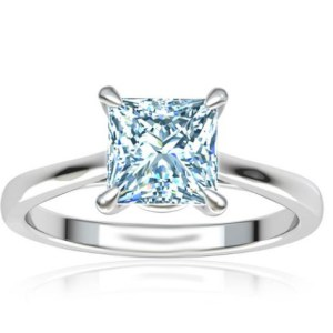 2.80Ct Princess Cut Blue Diamond Solitaire Engagement Ring 14k White Gold Over