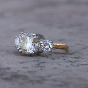 2.30Ct Forever Round Cut Moissanite 3 Stone Engagement Ring Solid 14k Yellow Gold