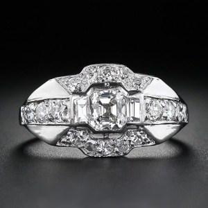 Antique 1.50Ct Asscher Cut Real Moissanite Wedding Engagement Ring 14 White Gold