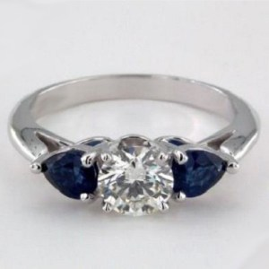 Forever 2.Carat Round Cut Moissanite Side Sapphire Engagement Ring 925 Sterling Silver
