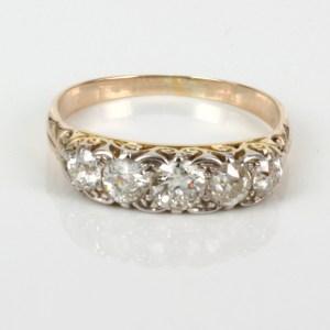 2.34Ct Off White Round Moissanite Antique Wedding Engagement Ring 14k Yellow Gold