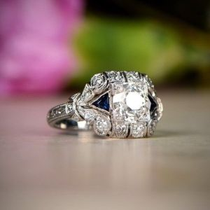 Art Deco Vintage 1.80Ct Round Cut Moissanite Engagement Ring Solid 14k White Gold