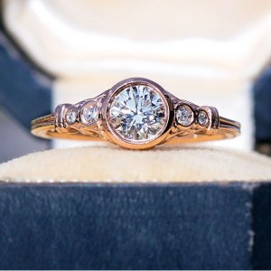 1.89Ct Round Cut Real Moissanite Bezel Engagement Ring Solid 14k Rose Gold