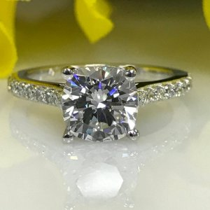 3.00Ct Cushion Cut Moissanite With Assent Fancy Engagement Ring Solid 14k White Gold