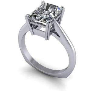2.50Ct Radiant Cut Real Moissanite Solitaire Engagement Ring Solid 14k White Gold