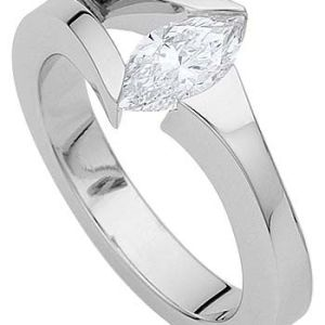 Unique 1.50Ct Marquise Cut Moissanite Engagement Ring Solid 14k White Gold