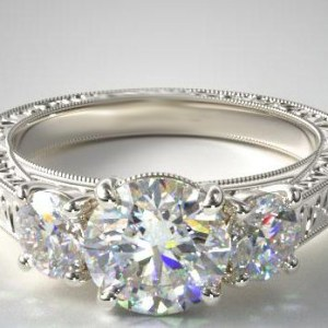 2.30CT Round Cut Real Moissanite 3 Stone Antique Engagement Ring 14k White Gold