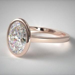 2.40Ct Oval Cut Moissanite Bezel Wedding Engagement Ring Solid 14k Rose Gold