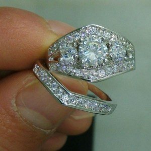 2.53CT Forever Round Moissanite Classic Engagement Ring Set 14k White Gold