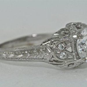 Art Deco 2.Ct Real Moissanite Diamond Antique Engagement Ring Solid 14k White Gold