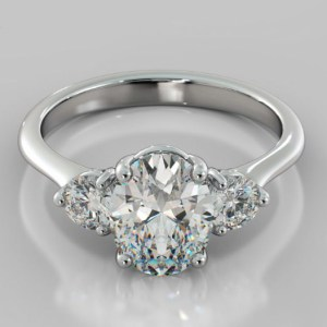 2.30Ct OvalCut Brilliant Moissanite Side Round Engagement Ring Solid 14k White Gold