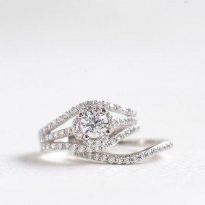 2.10Ct Round Cut Moissanite Diamond Engagement Ring Set In 14k White Gold Over
