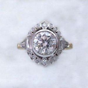 1.88Ct Round Cut Moissanite Bezel Halo 2Tone Engagement Ring Solid 14k White Gold