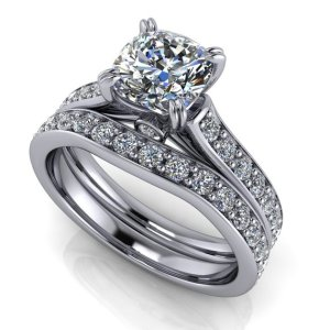 2.15Ct Cushion Cut Real Moissanite With Accent Engagement Ring Set 14k White Gold