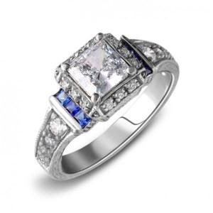 1.80Ct Princess Cut Brilliant Moissanite 14k White Gold Classic Engagement Ring