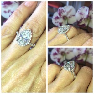 1.89Ct Pear Cut Moissanite Halo Accents Wedding Engagement Ring Solid 14k White Gold