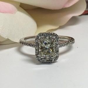 1.77Ct Fancy Radiant Cut Moissanite Halo Best Engagement Ring 14k White Gold