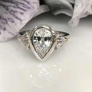 1.88Ct Pear Cut Bezel Moissanite Side Trillion Engagement Ring Solid 14k White Gold