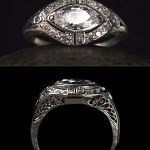 1.83Ct Marquise Cut Bezel Moissanite Diamond Engagement Ring Solid 14k White Gold