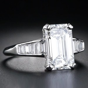 2.50Ct Emerald Cut Brilliant Solitaire Moissanite Engagement Ring Solid 14k White Gold