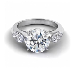 1.80Ct Round Cut Moissanite Side Marquise Engagement Ring 14k White Gold