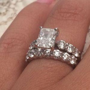 3.40Ct Radiant Cut White Diamond Engagement Ring Wedding Set 14k White Gold