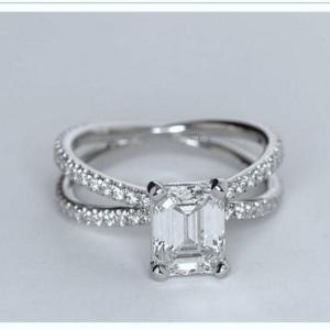 2.30Ct Emerald Cut White Diamond Criss Cross Engagement Ring 14k White Gold