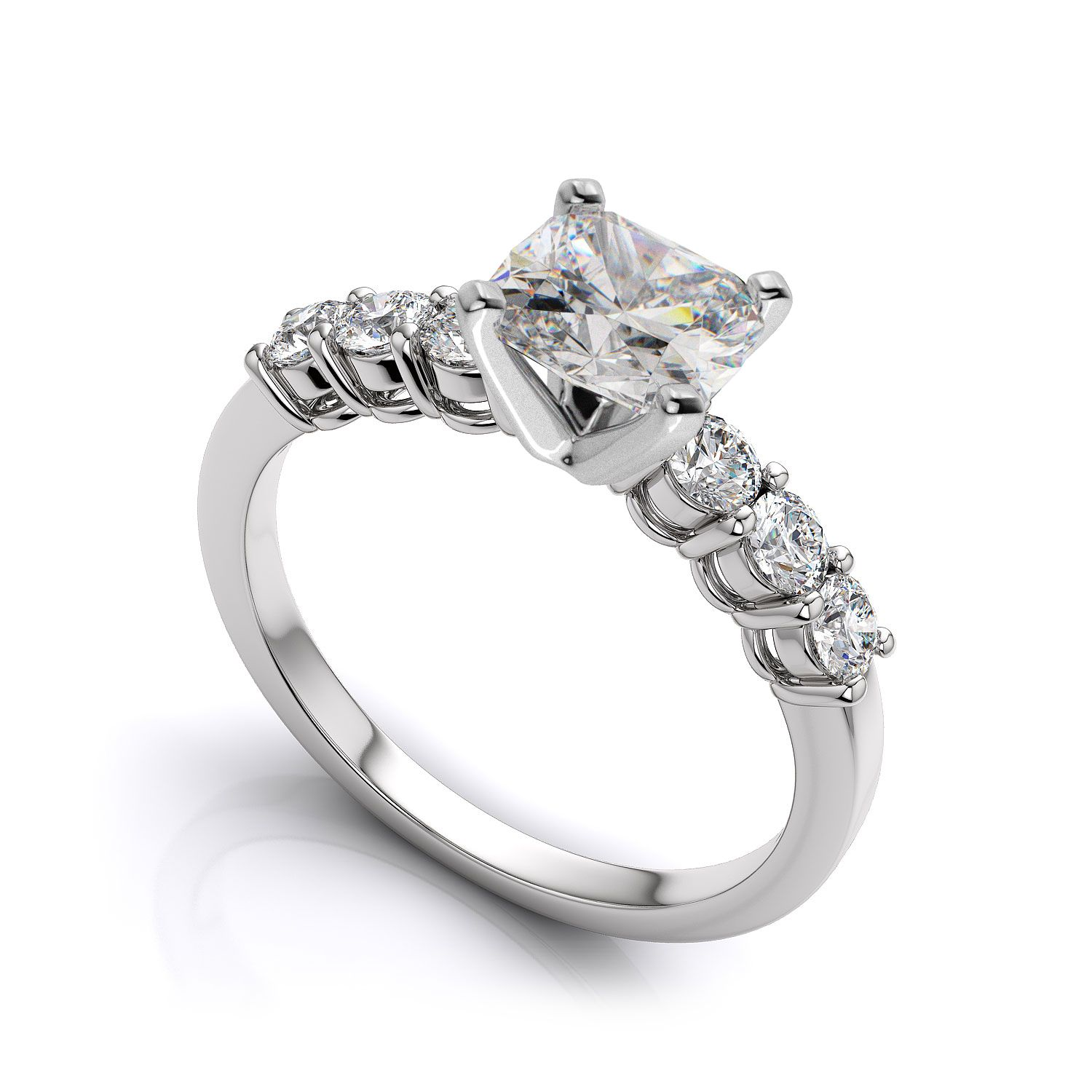 3 00ct Excellent Cushion Cut Diamond Side Round Stone Engagement Ring 14k White Gold Finish