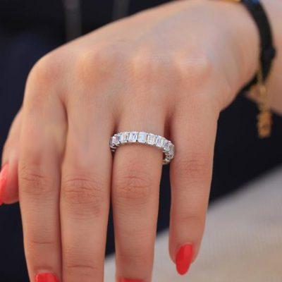 3.70Ct Emerald Cut White Diamond Wedding  Band Ring 14k White Gold Over