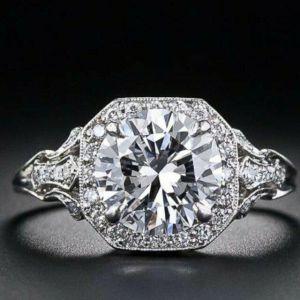 2.33 Ctw Round Moissanite Art Deco Wedding Engagement Ring 14k White Gold Over