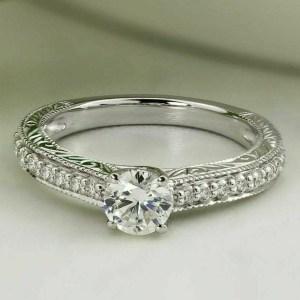Art Deco Vintage 1.60 Ctw Round Near White Moissanite Engagement Ring 14k Gold Over