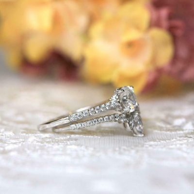 1.25 Carat Forever Round VVS1 Moissanite Bridal Set Engagement Ring 14k Gold Over