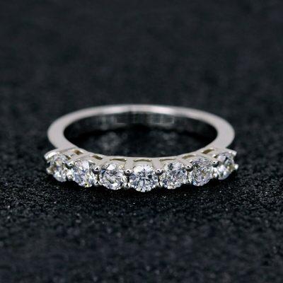 0.80 Carat 7-Stone Half Eternity Round Moissanite Wedding & Engagement Ring 14k White Gold