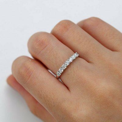 0.60 Ctw Near White 7-Stone Round Moissanite Anniversary Wedding Band Ring 14k Gold Over